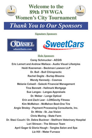 2019 Women's City Tournament Golf Sponsors
